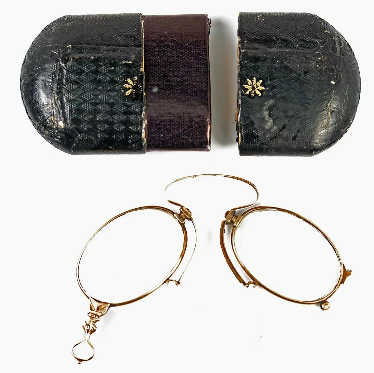 Antique 14K Gold Folding Spectacles, Pince Nez Reading Glasses and Case, c.1880s