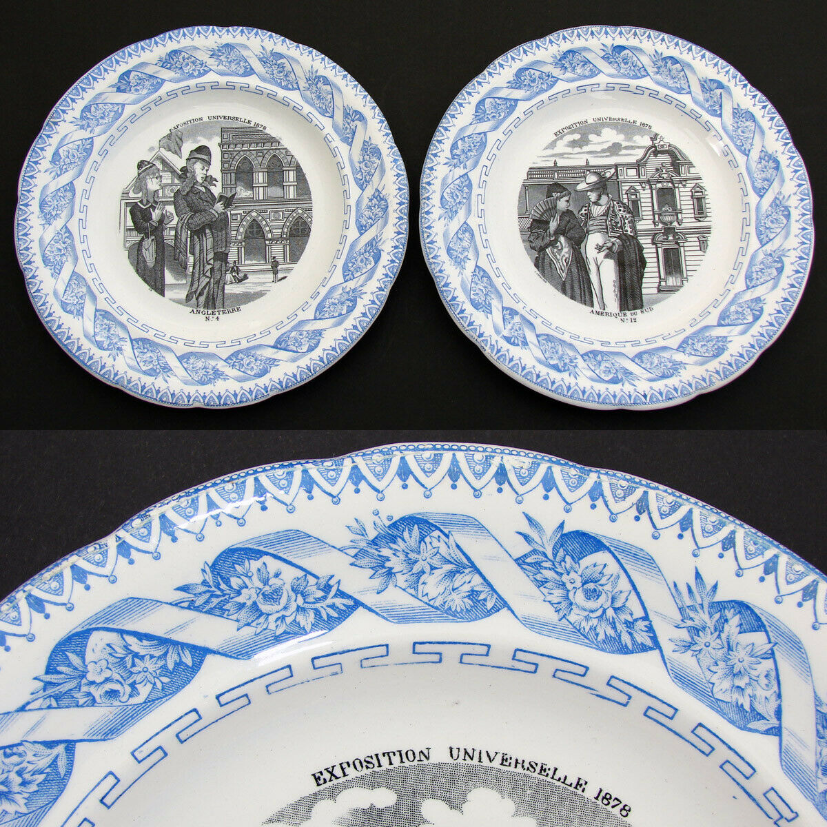 Antique French Gien 2pc Cabinet Plate Set, Figural, Exposition Universelle 1878