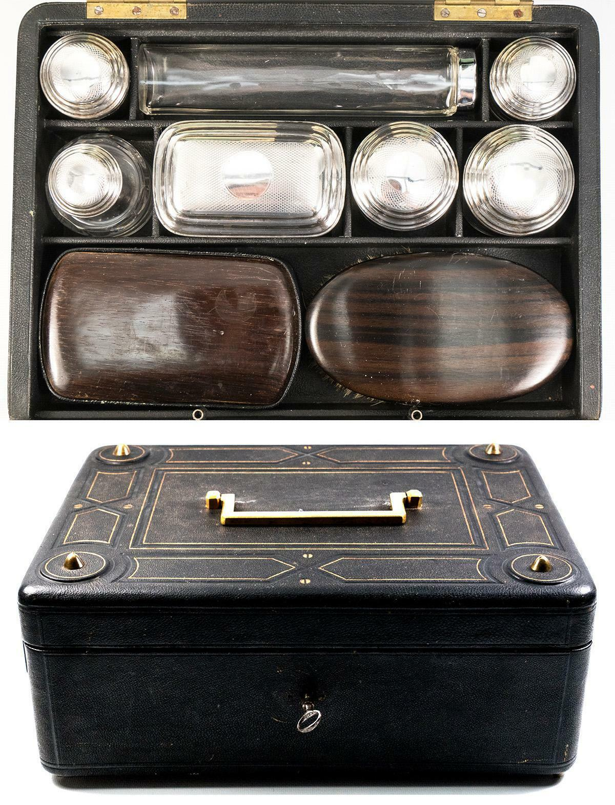 Antique French Travel Vanity Case Box, Trousse de Voyage Loaded with Jars, Tools