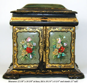 "RARE Antique Victorian Papier Mache 12"" Chest, HP Floral, Pearl Inlays, Tomb"