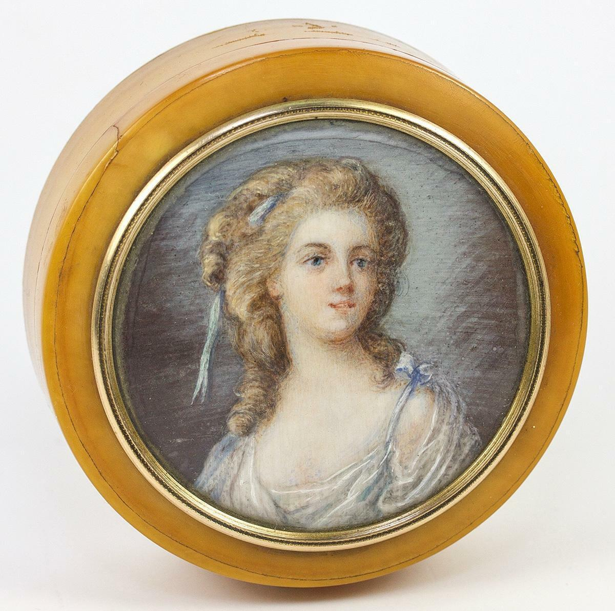 Antique French Portrait Miniature Frame of 12k Gold, on Snuff Box, c. 1870