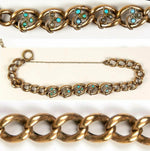 Antique French Bracelet, Seed Pearls and Turquoise set, Heavy Chain Rolled Gold