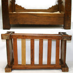 "Antique Victorian Era Miniature or Bru Doll Sized 19"" Bed, Solid Carved Wood"