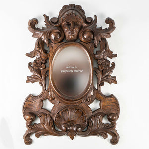 "Antique Hand Carved Black Forest or French 12"" Frame, Figural, Mirror, Acanthus"