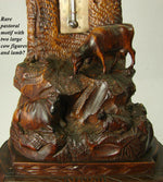 Antique Black Forest Carved Desk Thermometer Stand, Rare Pastoral Themed Cow