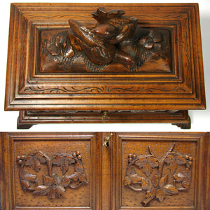 Large Antique Black Forest Carved Double Well Tea Caddy, Figural Bird Grouping