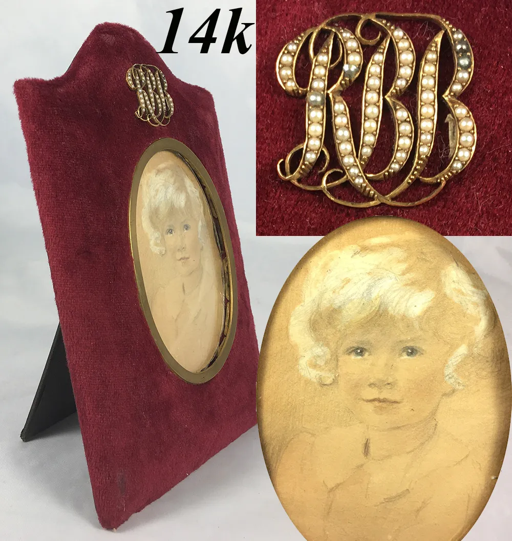 Antique Edwardian 14k Gold Seed Pearl Cartouche Frame, Child Miniature Portrait