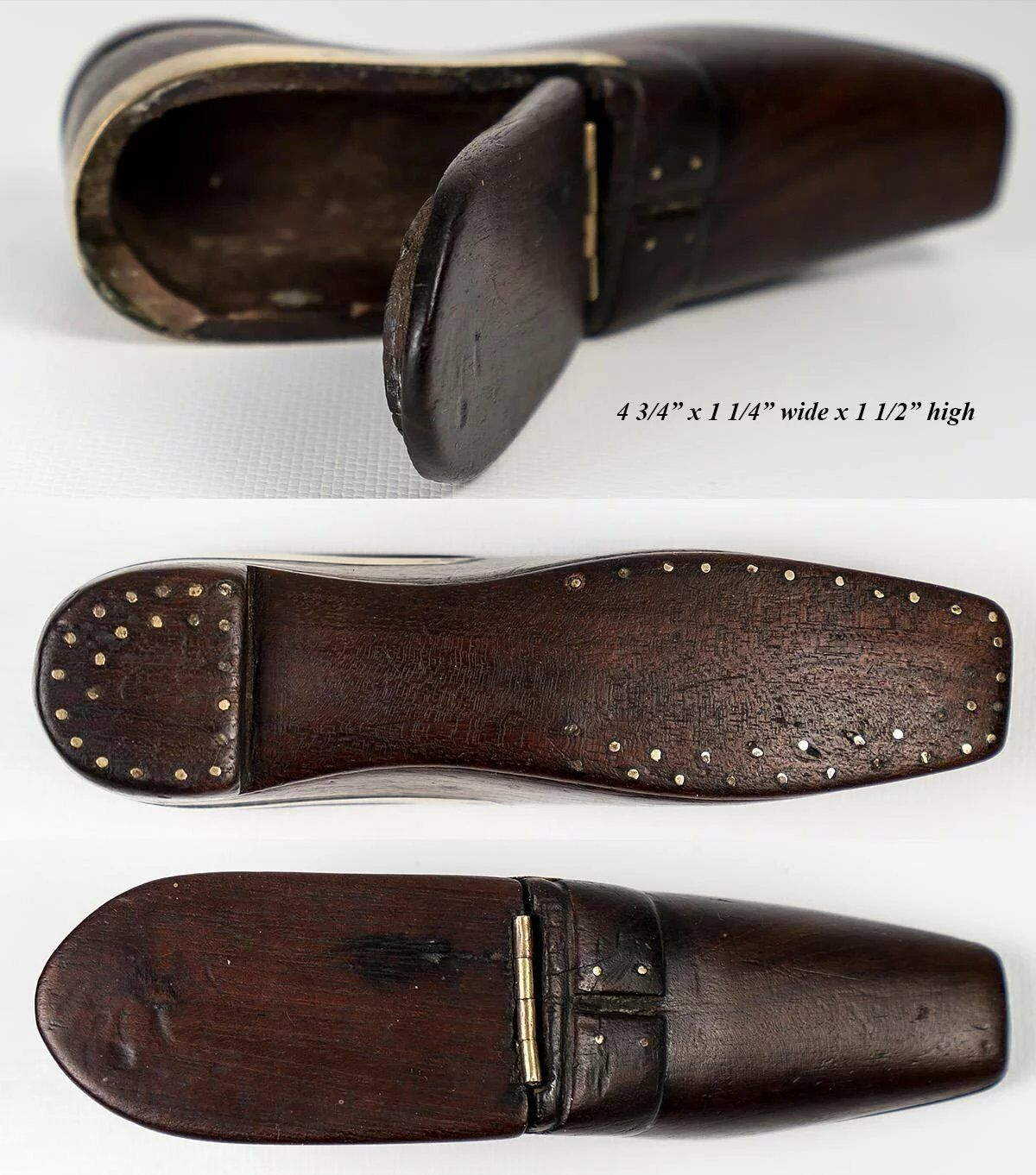 "Antique 4.75"" French Carved Wood Shoe or Boot Snuff Box, Pique ""nails"", c.1700s"