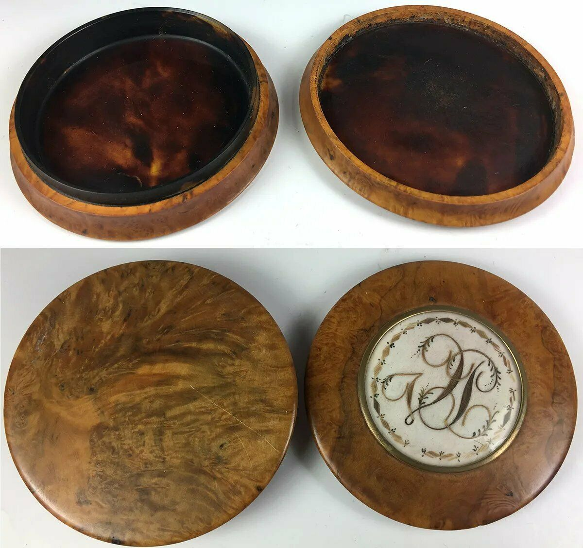 "Antique Georgian - Victorian 3.75"" Burl Snuff Box, Hair Art Memento, Mourning"