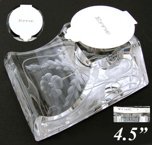 "Antique American Brilliant Cut Crystal & Sterling Inkwell, Art Nouveau, ""Effie"""