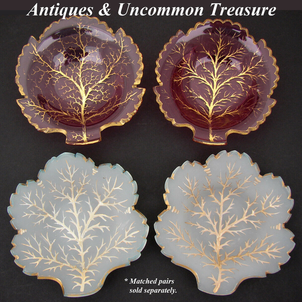 Antique French White Opaline Candy or Dessert Dish Pair, Leaf Shape, Raised Gold