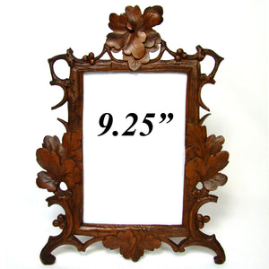 "Antique Victorian Era Black Forest Carved 9.25"" Picture Frame, Vines & Foliage"