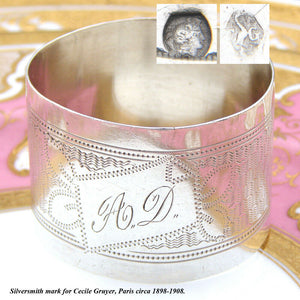 "Antique French .800 Silver Napkin Ring, Guilloche Style Decoration, ""A.D."" Mono"