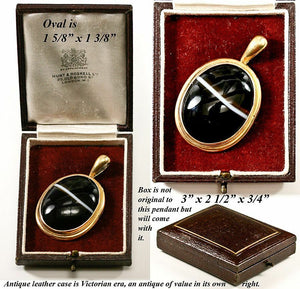 Antique Victorian Scottish Agate Pendant 18K Gold Mourning Locket