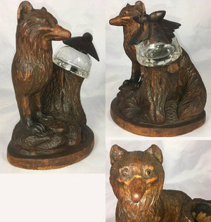 "Antique HC Black Forest 7"" Tall Fox, Glass Eyes, Carved Tree Stump Holds Inkwell"