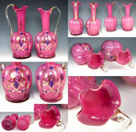 Antique French Pair of Pink Opaline Decanters, Demi-Carafe for Table or as Vases