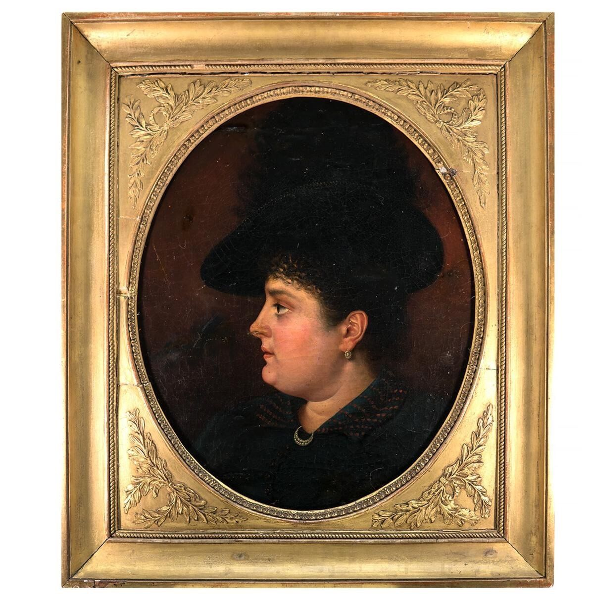 Antique French Oil Painting, Portrait of Woman c.1840s, Fine Frame, Jewelry, Hat