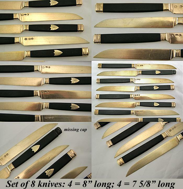 Antique French Sterling Silver, 22K Gold Vermeil & Ebony 9pc Knife Set, 1819