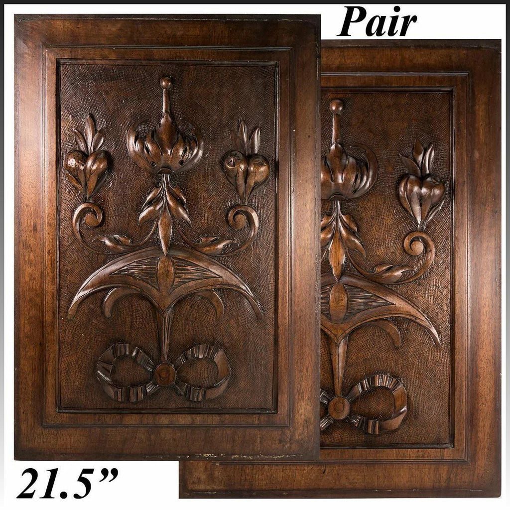 "PAIR Antique Victorian 21x15"" Carved Wood Architectural Furniture Door Panels"