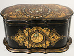 "Antique Victorian Jennens & Bettridge 10"" Papier Mache Casket, Box, Tea Caddy"