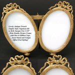 "Antique French Napoleon III 4 3/8"" Gilt Ormolu Double Picture Frame, Ovals, Bow"