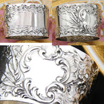 "Antique French Sterling Silver 2"" Napkin Ring, Louis XV or Rococo Style, Floral"
