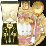 "Antique French 18k Gold on Sterling Silver 4pc Hors d'Oeuvre Set with 10"" Ladle"