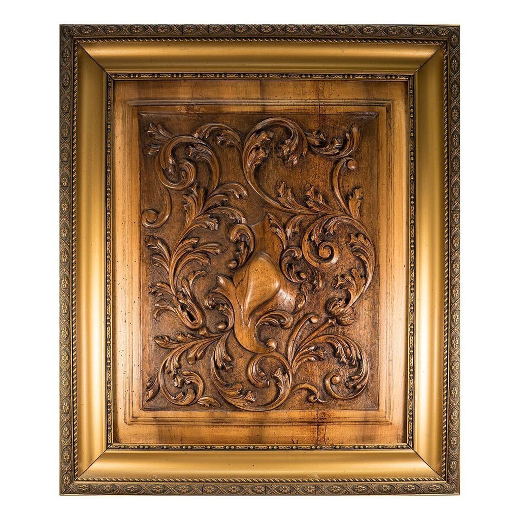 "Antique French Carved Wood Panel, Frame: Acanthus & Shield Panel, Door, 27""x23"""
