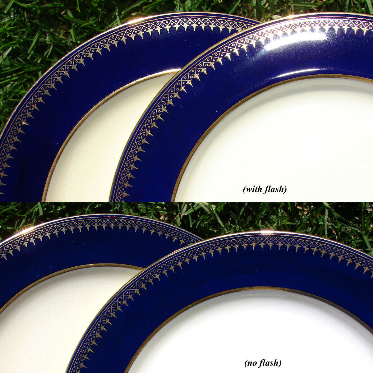 "Antique Minton 8pc Luncheon or Salad Plate Set, Theodore B. Starr, NY, 9"" Cobalt"