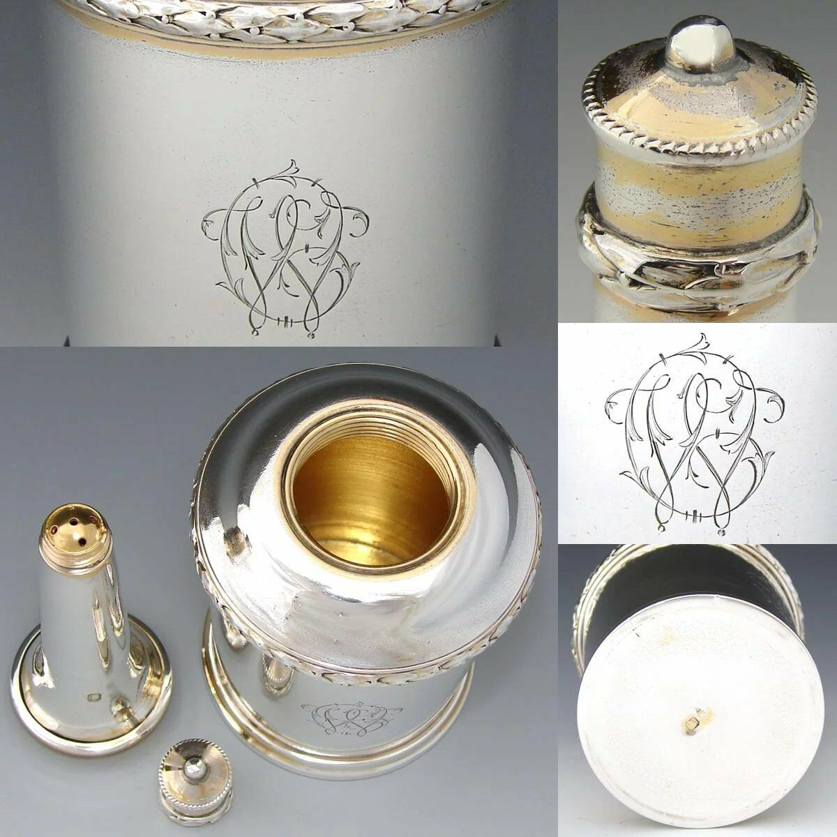 Antique French Sterling Silver Vanity Cologne or Talcum Spritzer, Decanter