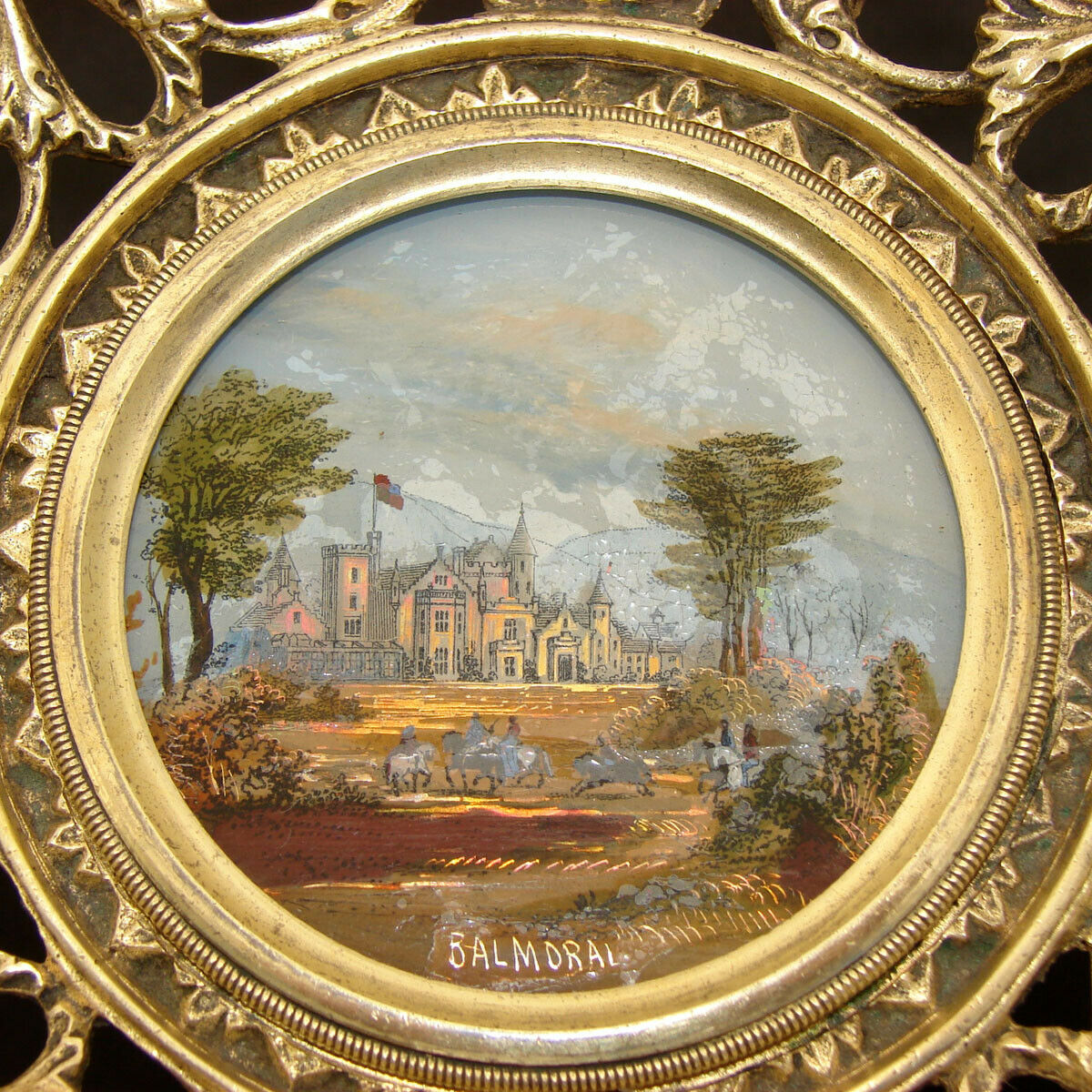 Antique Grand Tour Souvenir Card or Cake Tray: Eglomise Balmoral Castle Painting