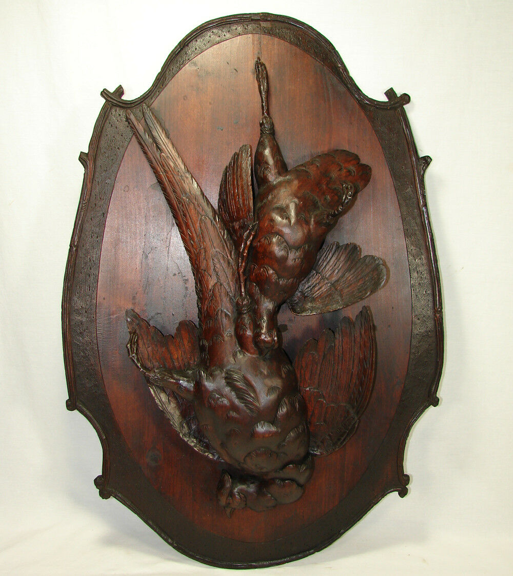 "Huge Antique 29.5"" Tall Hand Carved Black Forest Plaque Fruits of the Hunt Theme"