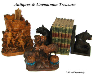 Antique Victorian Black Forest Carved Smoker's Stand, Police Gendarme & Thief