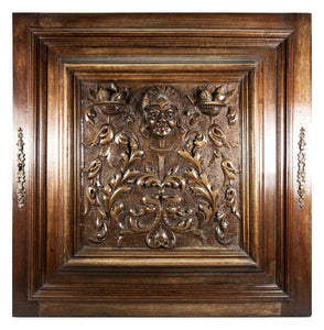 Opulent Hand Carved Antique Cabinet Door, Plaque, Neo-Renaissance Style, Figural