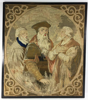 Antique Victorian Era Needlepoint Tapestry Panel, The Philosophers, No Frame 23""