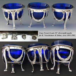 Gorgeous Antique Continental Silver & Cobalt Glass 3pc Open Salt Set, Garland
