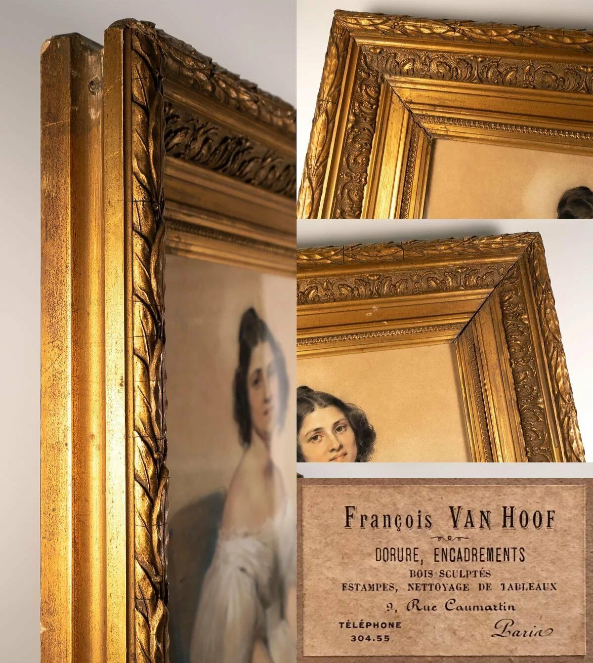 Antique French c.1834 Portrait in Pastel, Frame: Pierre François Eugene GIRAUD