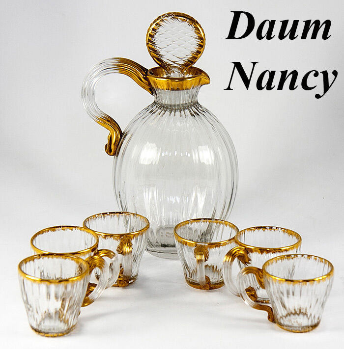 Antique DAUM NANCY French Gilt Trimmed Liqueur Decanter Set, 6 Cordials, Signed