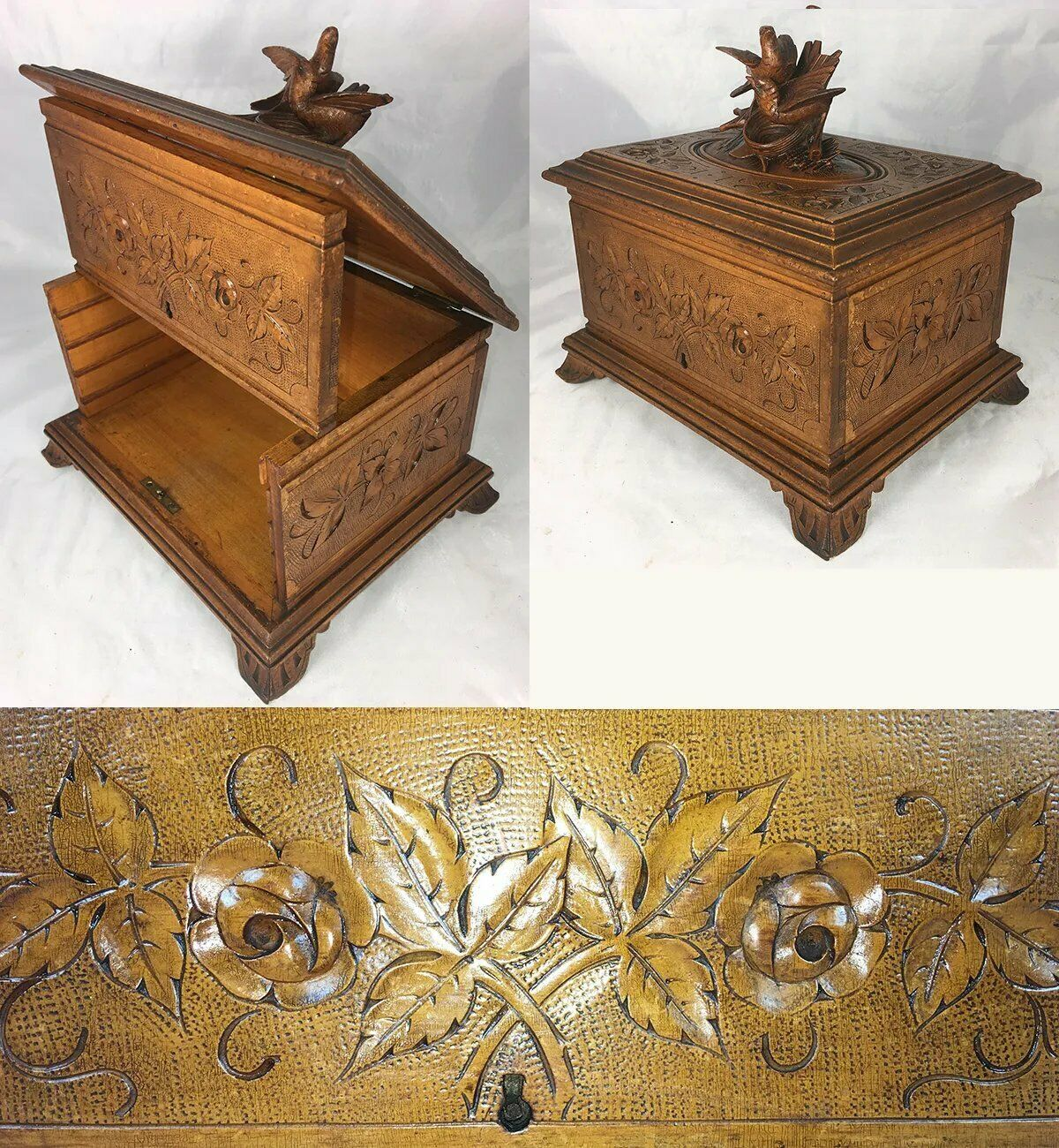 "Antique Black Forest Carved 9.25"" Cigar Chest, Box, Caddy, Lovebirds & Nest"
