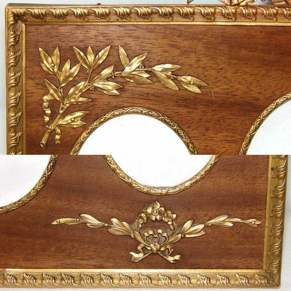 "Antique French Empire Style 9.5"" Gilt Bronze Picture Frame, Wood Mat, 3 View"