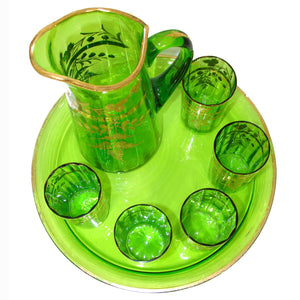 "Antique Moser Green Glass 7pc Punch or Lemonade Service, Gold Enamel, 12.5"" Tray"
