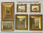 Pair Antique French Carved Wood Frames, Watercolors of Rome, Pantheon & Trevi