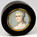 Fine Antique French Snuff Box, Hand Painted Portrait Miniature, Jewelry Interest