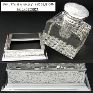 "Antique Brilliant Crystal & Sterling Silver 4.5"" Inkwell, Bailey Banks & Biddle"