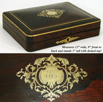 "Large Antique French Napoleon III Era Boulle Style Brass Inlay 12"" Game Box"