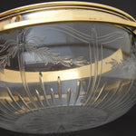 "Antique French Vermeil Sterling Silver & Intaglio Etched Glass 9"" Serving Bowl"