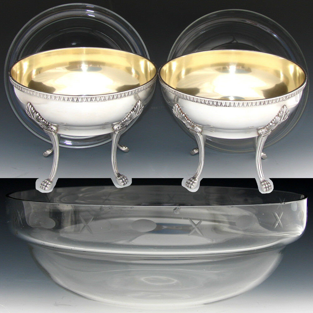 "Antique French Silver Plate 7"" Serving Bowl PAIR, 8 3/4"" Glass Inserts, Lion Paw"