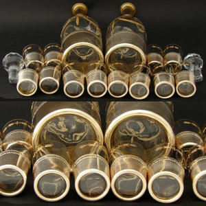 Rare Antique French 18k Gold on Silver 14pc Liqueur Service, Empire Raised Gold
