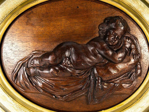 "Antique Carved Plaque in French Frame, Infant or Cupid at Rest, 18.5"" x 15.5"""