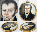 Antique HP Portrait Miniature, 1700s French, Looks like Werewolf or Vampire